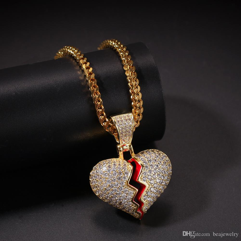 Wholesale Iced Out Small Heart Pendant Necklace With Rope Chain