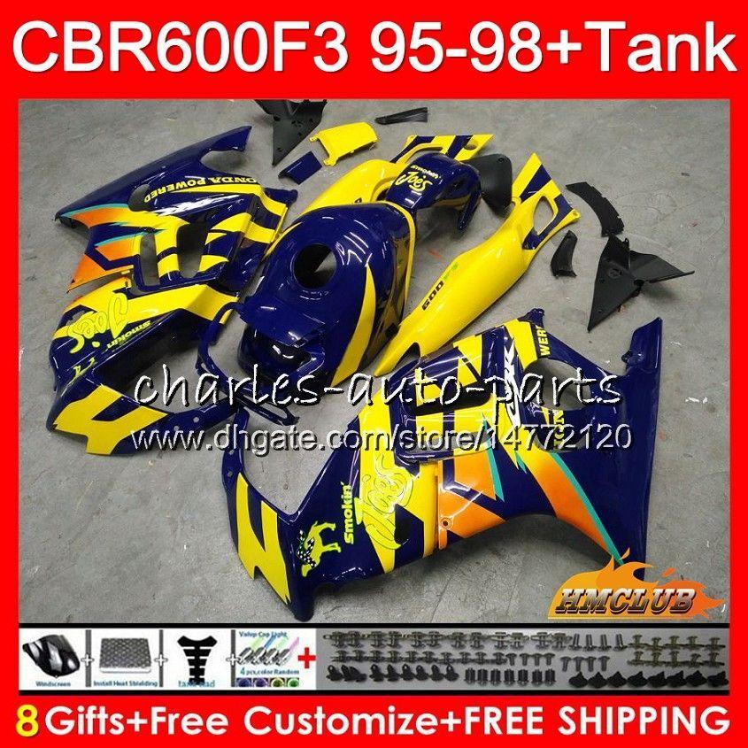 Body + tank voor HONDA CBR 600F3 600CC CBR600 F3 95 96 97 98 41HC.147 CBR 600 FS F3 CBR600FS CBR600F3 1995 1996 1997 1998 Kuiken Blauw Geel