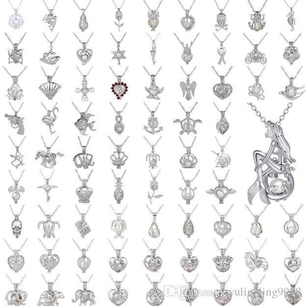Perle Käfig Anhänger Halskette Liebes Wunsch Natürliche Perle Mit Oyster Perle Mix Design Hohl Medaillon Schlüsselbein Kette Diffusor Halskette