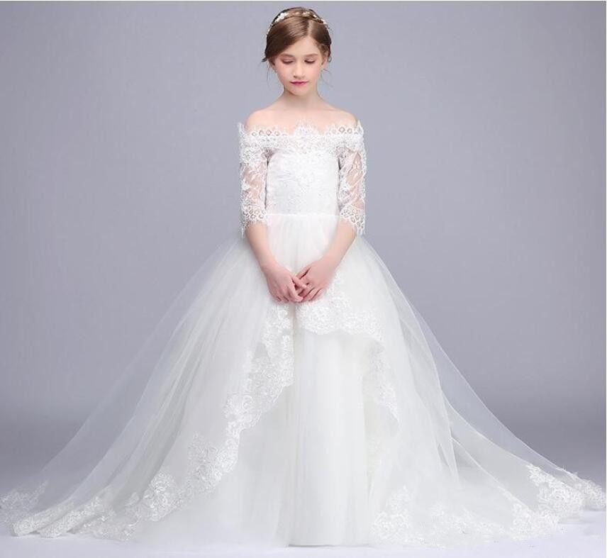 2019 Ultime ragazze di fiori abiti per matrimoni spalle spalle appliques ragazze pageant indossare abiti da sposa abito da ballo di usura di promenade