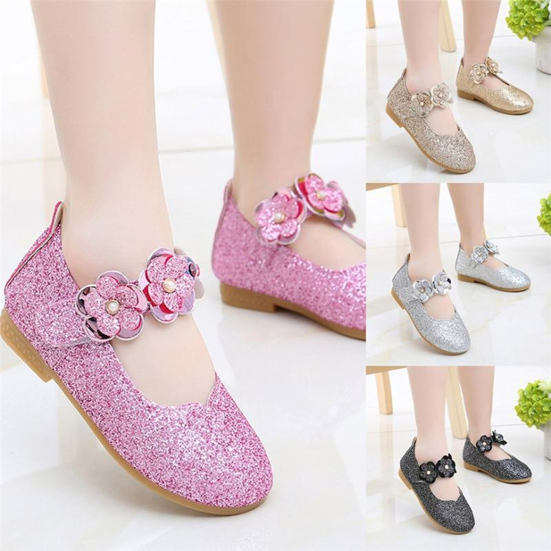 Çocuk Ayakkabı Kız Moda Bebek Çocuk Kız Sandal Tatlı Çiçek Bling Pullarda Prenses Casual Tek Ayakkabı HookLoop Düz Ayakkabı