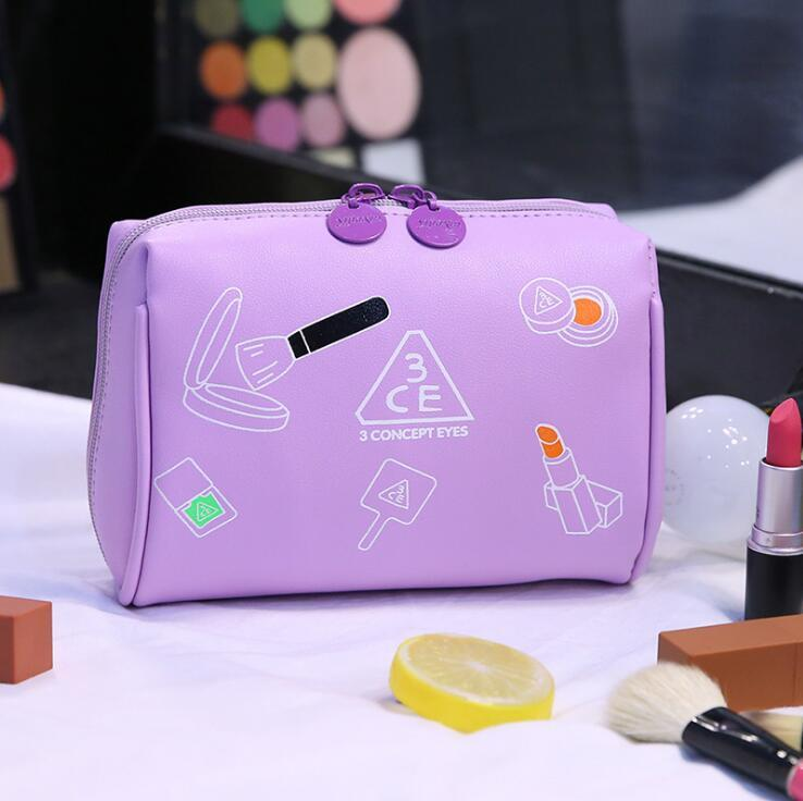 New Fashion Cosmetic Case PU Letter Print Cosmetic Bag Large Capacity Makeup Handle Toiletry Bag Wholesale