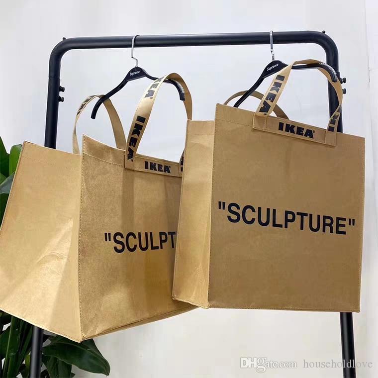 Por atacado marke tote casal sacos de papel sacos de armazenamento kraft ow shopping bolsa ins homens rua carregando sacos conjuntos mulheres shooping e pdnik