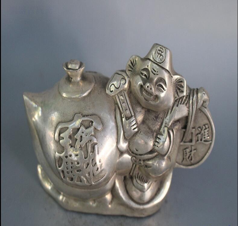 Moneta di rame bianca pura antica di vendita calda, moneta di rame placcata argento, maiale e bottiglia di otto vasi decorazione del vino, regali della decorazione domestica, anti