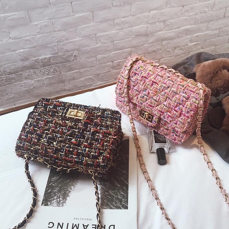 Bolsa feminina Tweed Saco Crossbody Bags Moda Pequeno Should Feminino Feminino Senhoras Trend Cadeia Ndpap
