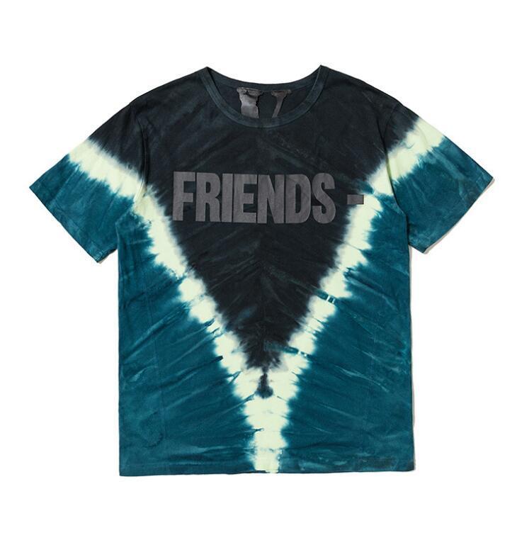 2020 V y Lone impresión de alta calidad tie-dye marca marea de manga corta camiseta corta de hombres y mujeres parejas