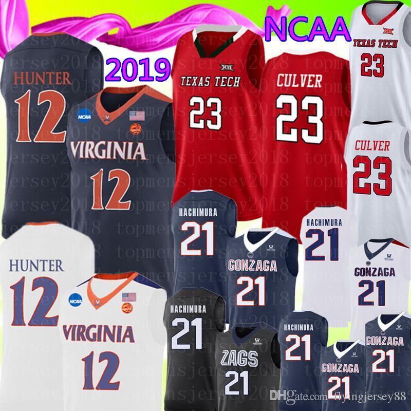 Yeni Virginia Cavaliers 12 De'Andre Hunter Jersey 23 Jarrett Culver Texas Tech Gonzaga Bulldogs 21 Rui Hachimura Basketbol 9889