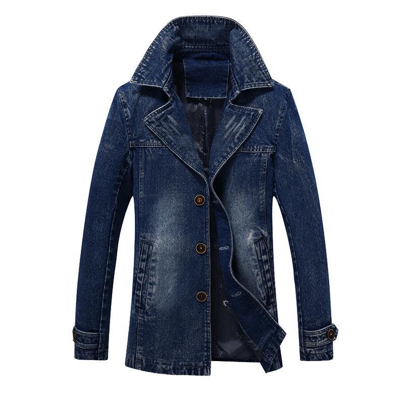 남성 데님 재킷 트렌치 코트 패션 높은 품질 플러스 사이즈 캐주얼 데님 트렌치 코트 남성 착실히 보내다 4XL 봄 가을