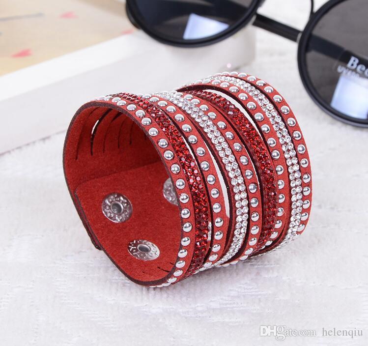 Moda Wrap Bilezik Rhinestone Slake Deluxe Deri Charm Bilezik ile Köpüklü Kristal Bileklik Yılbaşı Hediyeleri