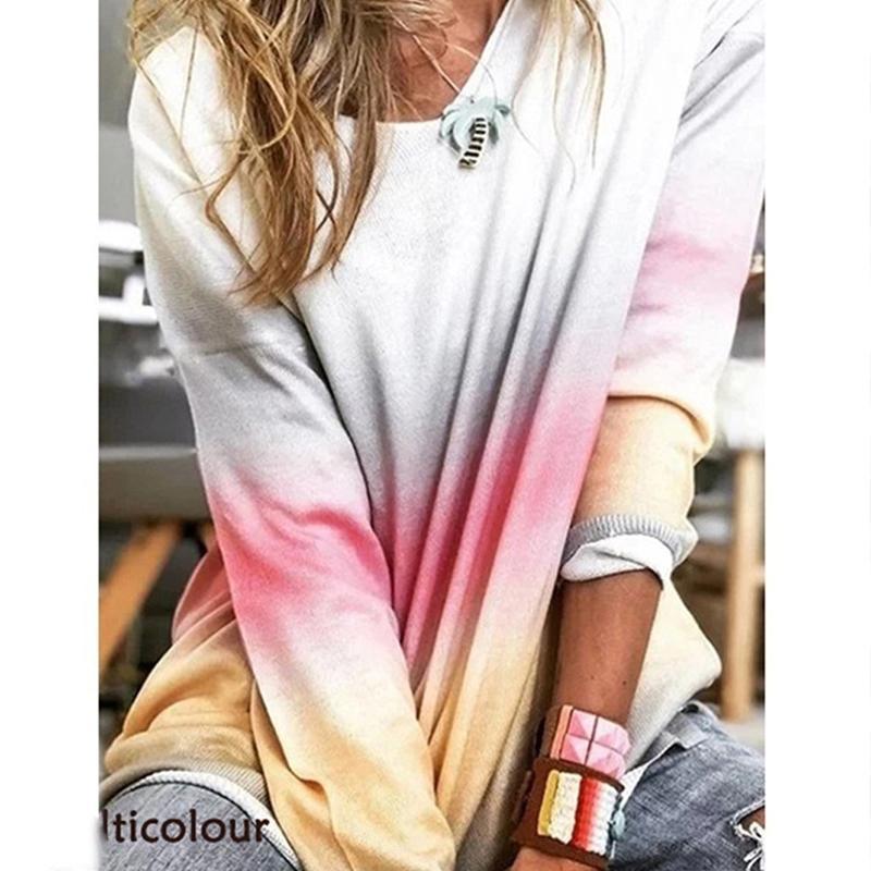Entrenamiento al aire libre ejercicio del suéter del color del gradiente de fitness con capucha atractiva del O Cuello de manga larga con capucha suéter que va de excursión