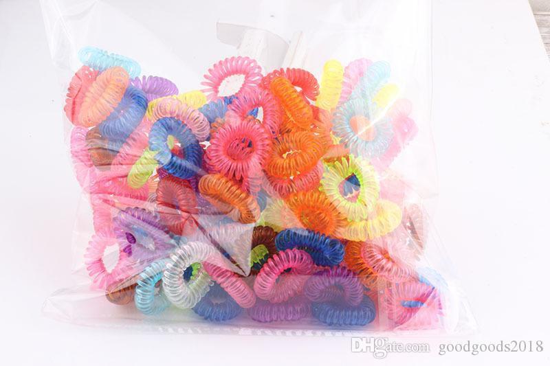 Doces Mix Gift fio da linha telefónica Gum Elastic Faixa de Cabelo para a menina cor corda doces Laço Anel Cabelo Rops Mulheres mantilha Ferramenta ST167