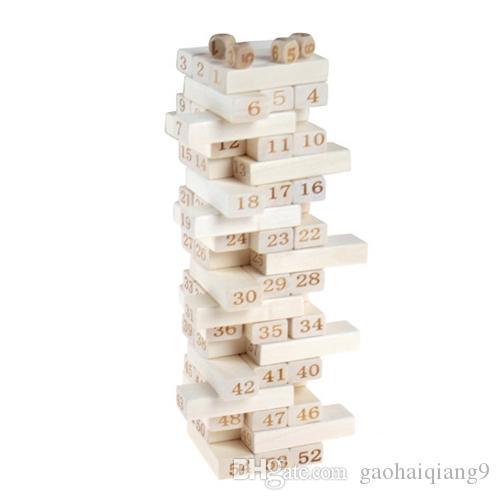 54 قطع مكدسة عالية اللبنات الرقمية دومينو طبقة المتتالية ضخ لعب الأطفال الفكرية الفكرية