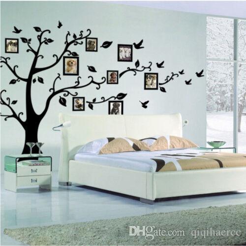 Família grande Photo Frame Pássaro Árvore Cotações Wall Sticker Art Decals Big árvore de adesivos de parede foto para Home Decor