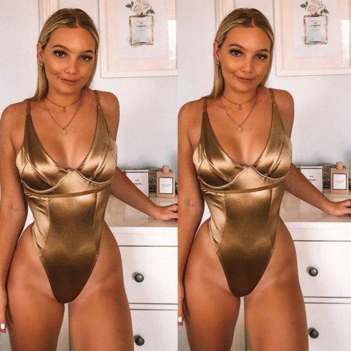 Mujeres Sexy cuello en V mono del nuevo del verano del traje de baño de oro sólido empuja hacia arriba el baño bikini de baño de una pieza de Monokini S-L