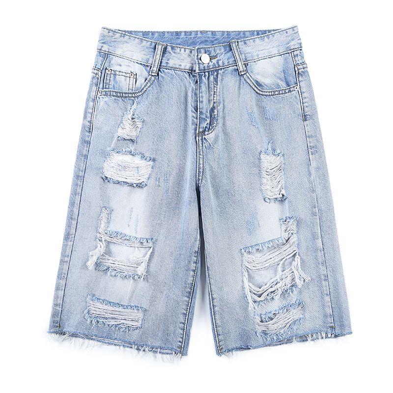 muchachas de la manera pantalones vaqueros cortos europeos grandes agujeros lavado vintage de algodón bajo deshilachado pantalones vaqueros cortos diseño de las mujeres del verano