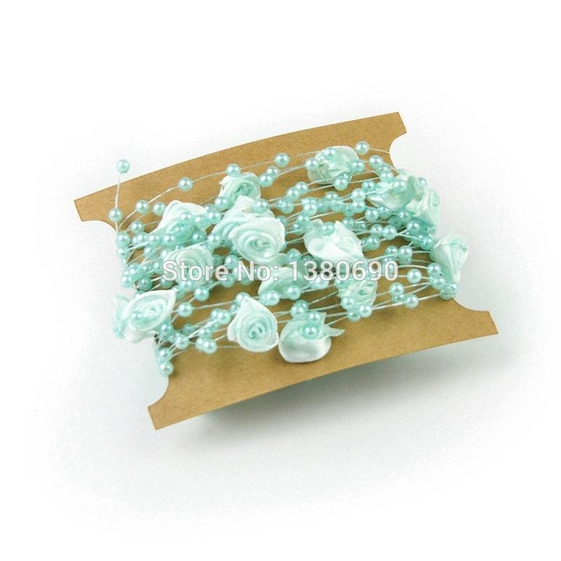 Artículos de fiesta 5M / bolsa de la pesca del partido de boda de flores de tela Línea de perlas DIY Rose Art Crafts decorativo flor artificial multicolor