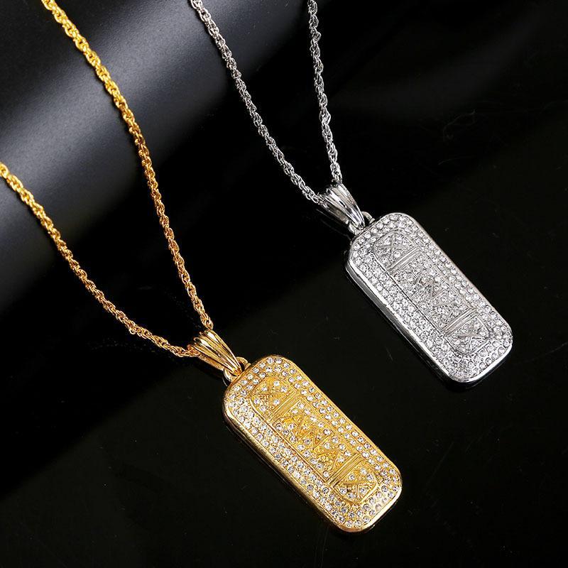 Erkekler Kadınlar Moda kolye kolye Charm Blok kolye Rhinestone elmas Hiphop Kolye Paslanmaz Çelik Bildirimi kolye Takı Hediye