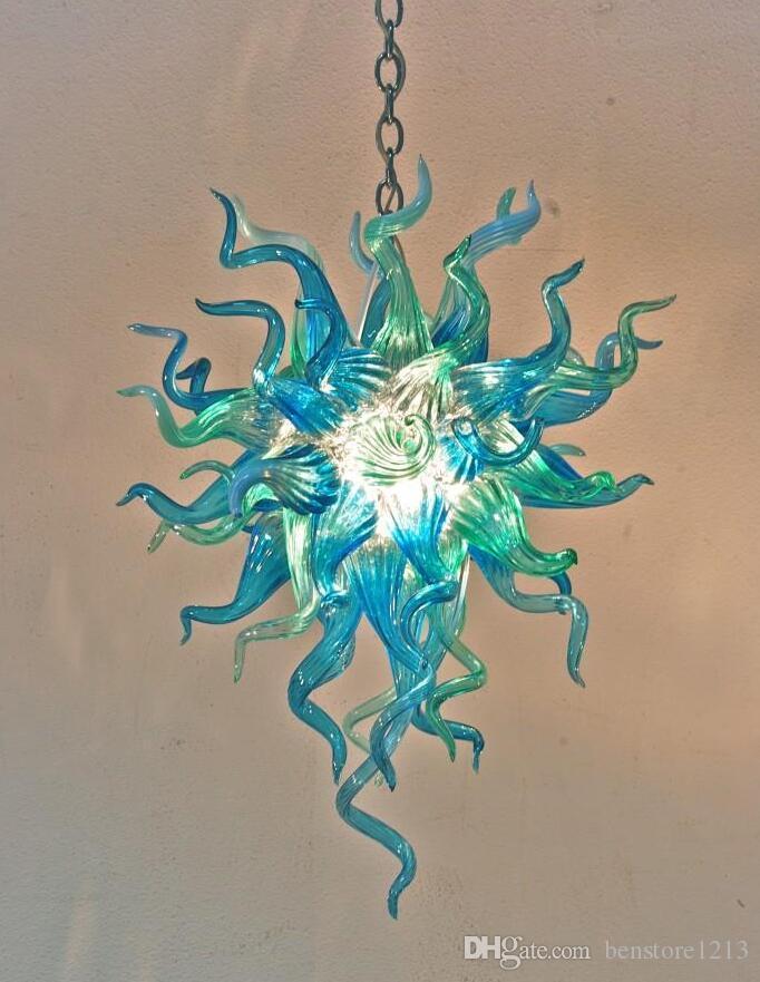 펜던트 램프 청록색 유리 샹들리에 가벼운 작은 100 % 입 블로운 붕 규산 무라노 실내 조명 아트 펜던트 빛의 중심 조명