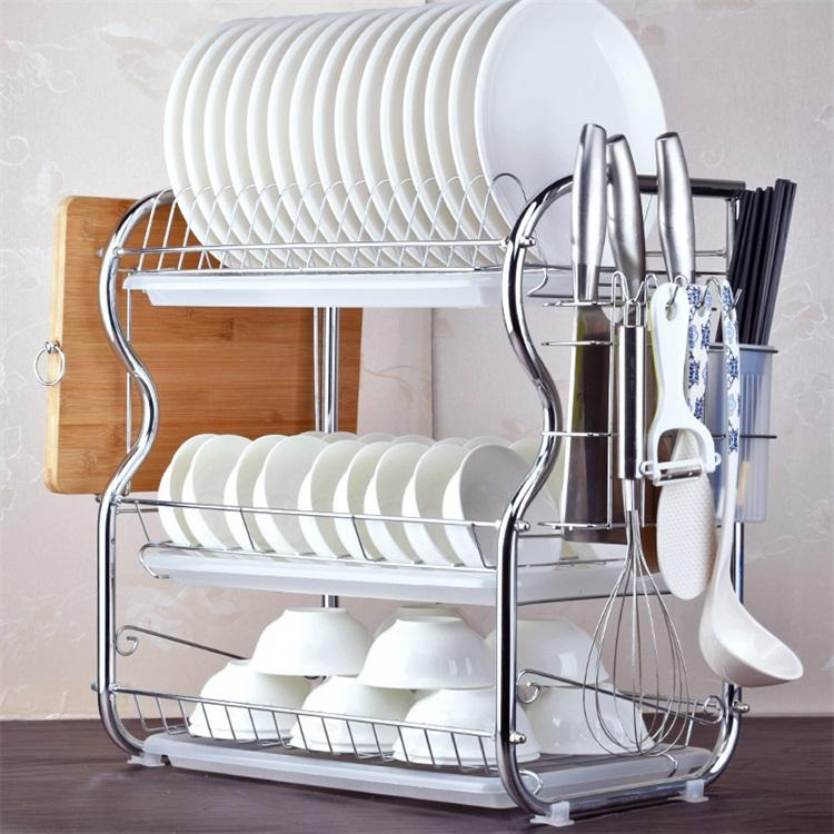 2019 2 3 Tiers Dish Drying Rack Kitchen Washing Holder Basket Plated Iron  Kitchen Knife Sink Dish Drainer Drying Rack Organizer B484 From Jiashao, ...