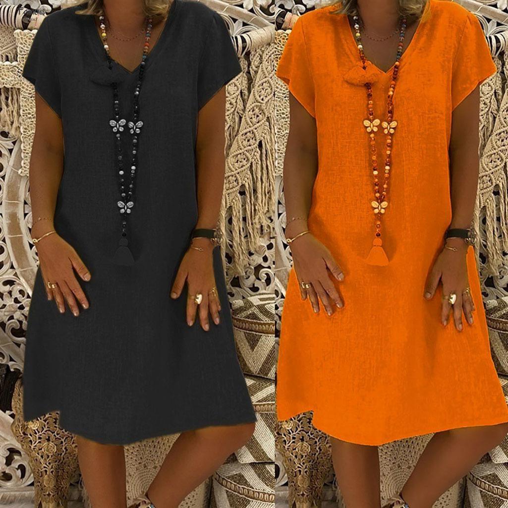 Compre Vestidos Para Mujer De Tallas Grandes De Algodon Vestido De Lino Ocasional Del Verano De La Playa Del Cuello De V Femenino Casual Mas El Tamano De Una Linea Vestido De