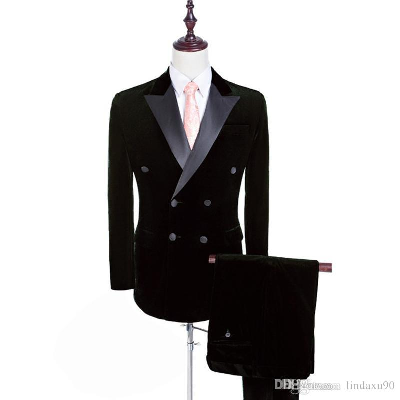 Otoño Invierno Moda Terciopelo negro Hombres Esmoquin de boda Esmoquin de novio de alta calidad Por encargo Hombres Blazer Traje de 2 piezas (Chaqueta + Pantalones + Corbata)