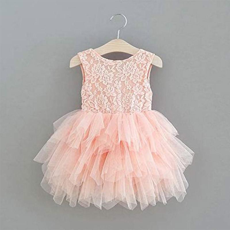 Mädchen Blumenrock knielange Spitzenkleid rosa weiß rot formale Anlass Kleid Mädchen Hochzeit