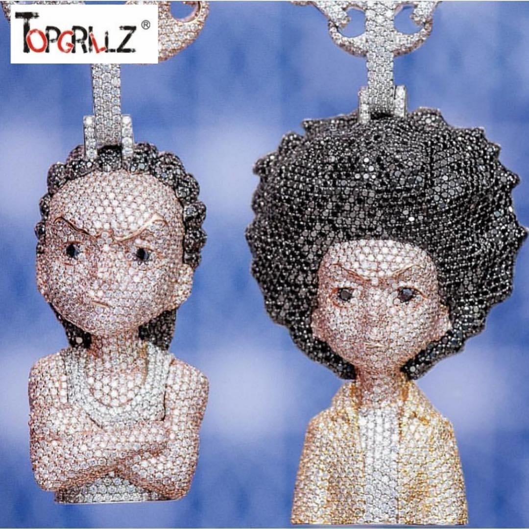 Buzlu Out Boondocks Kolye Cz Kolye Zincir Erkek / kadın Mikro Kaplamalı Hip Hop Altın Gümüş Renk Bling Charm Zincirleri Takı J190711