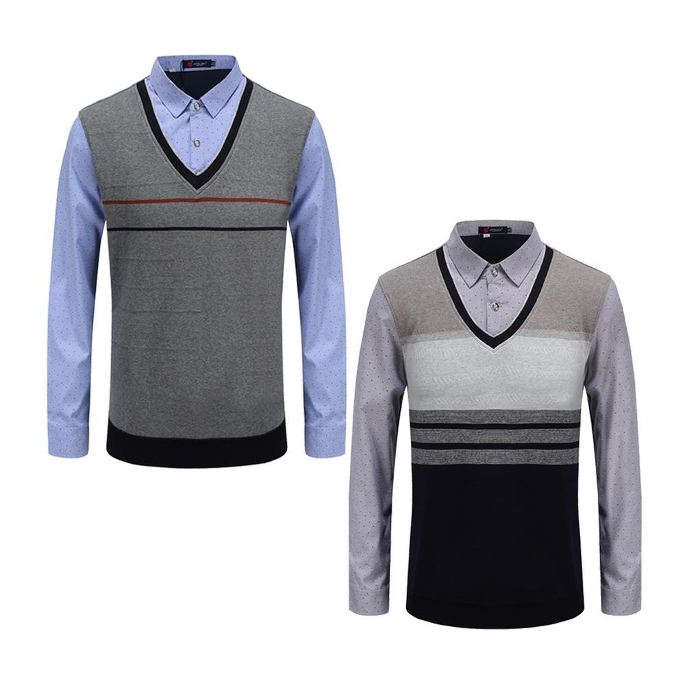 Últimas social formal shirt camisola morna escritório de negócio camisas masculinas para o inverno Camisolas Homens