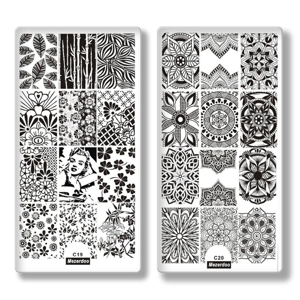 10Pc 손톱 스탬프 템플릿 크리 에이 티브 형상 스타일 직사각형 스탬프 이미지 플레이트 레이스 두개골 기하학 패턴 손톱 스탬프 도구