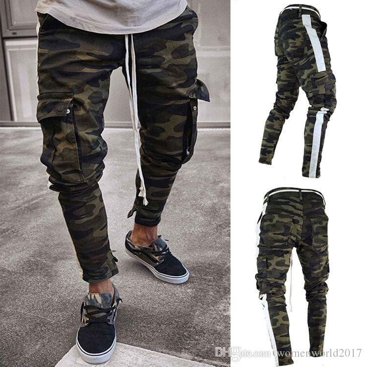 Erkek Kamuflaj Kalem Jeans Moda Büyük Çizgili Fermuar Jean Pantolon Pockets