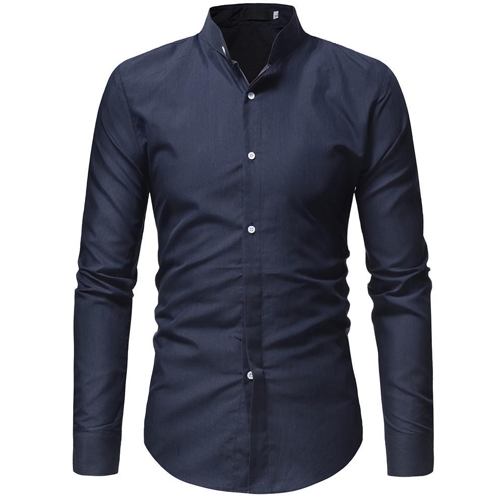 Camicia hawaiana del nuovo arrivo Camicia casuale 2019 di Camisa Masculina di colore solido di affari di colore solido Camicia a maniche lunghe Abbigliamento di marca X3