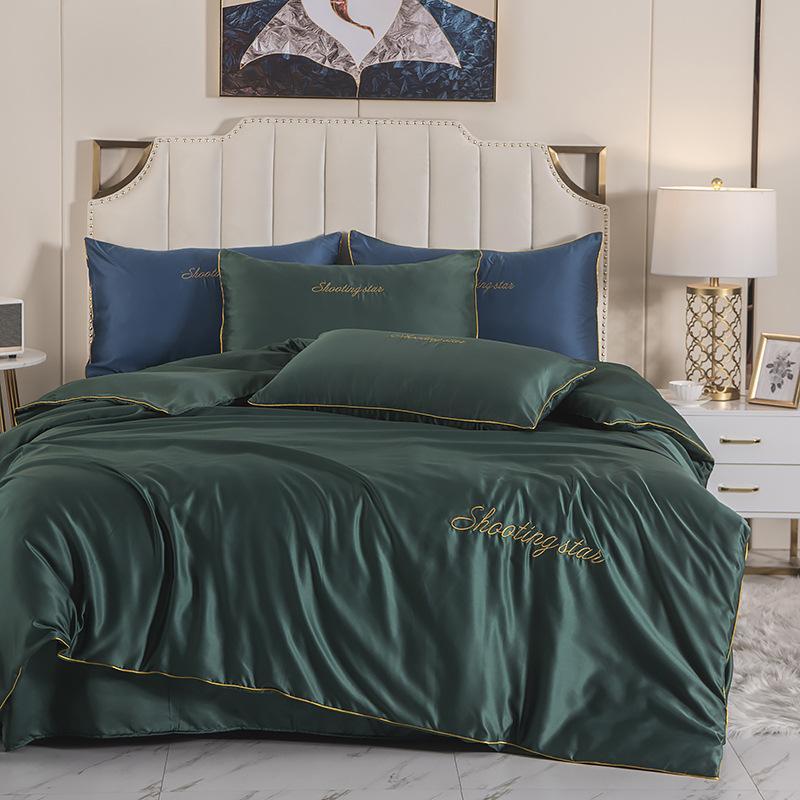 Mode Stickerei reines Satin Seide Bettwäsche-Set Bett-Set Blatt Bettbezug Blatt Pillowcase Flachbett König Queen-Size