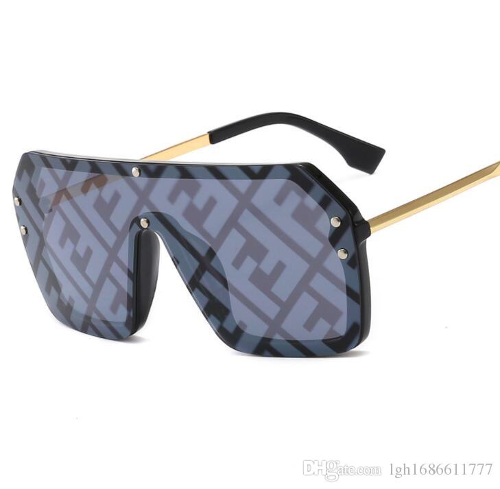 جديد 2019 مع f إلكتروني واحد قطعة ساحة نظارات المرأة المتضخم كبير خمر النظارات الرجال شعبية شقة الأعلى حملق نظارات uv400