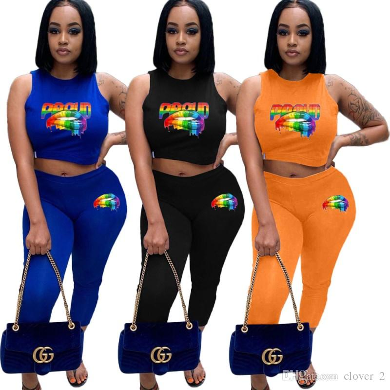 Women summer outfits two piece set women designer tracksuit sportswear jogging sport suit sweatshirt tights pants suit klw1631