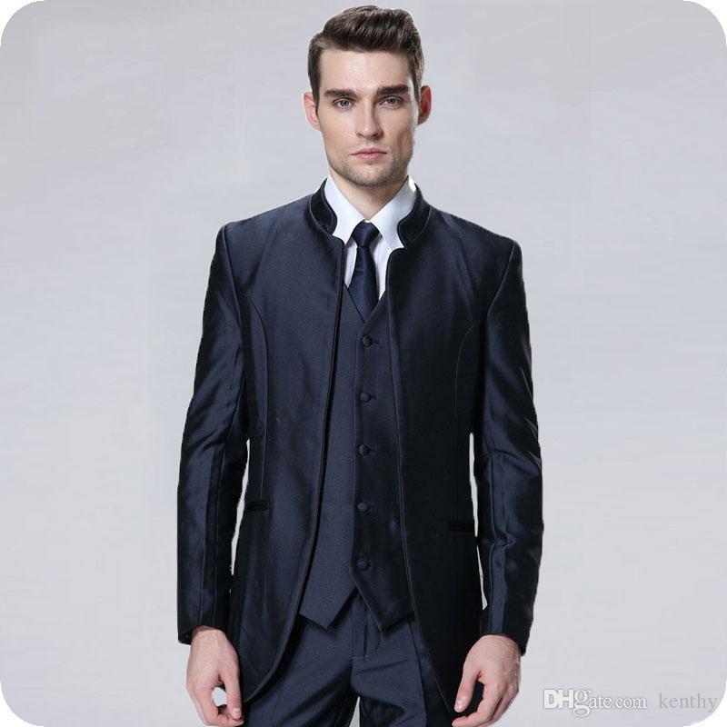 Fique Collor 2019 Homens ternos para casamento Slim Fit Azul Noivo Smoking Groomsmen Suit Man Blazer 3piece Custom Made Brasão Pants Costume Homme