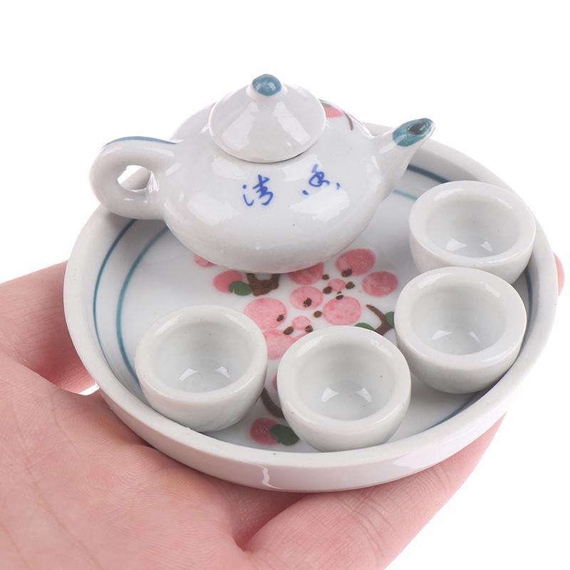 1Set 1:12 Miniature Doll House Flower Patten Coffee Tea Cups Ceramic Tableware Dollhouse Kitchen Accessories