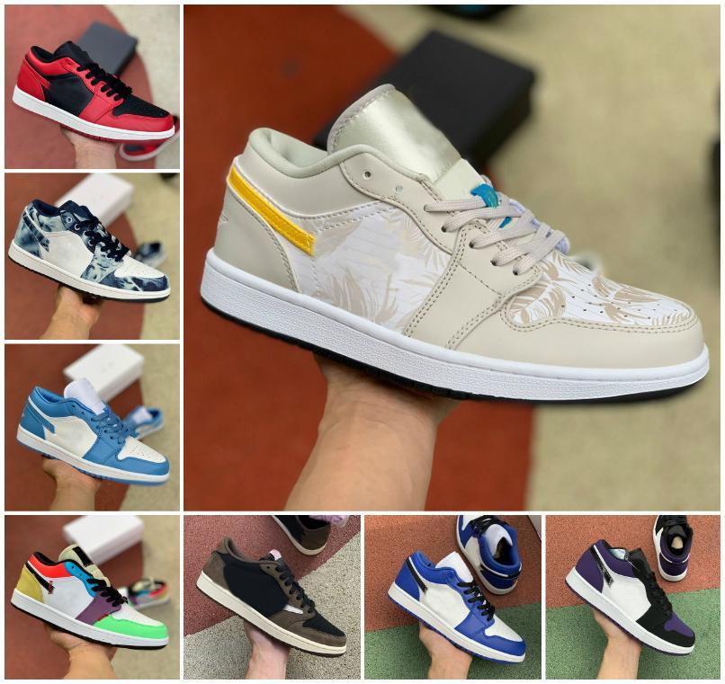 2020 zapatos de baloncesto del Mens 1 Jumpman baja tropicales Luz Travis UNC París Obsidiana Ember Glow Retroes dedo del pie Bred 1s mujeres de los zapatos de la clavada del monopatín