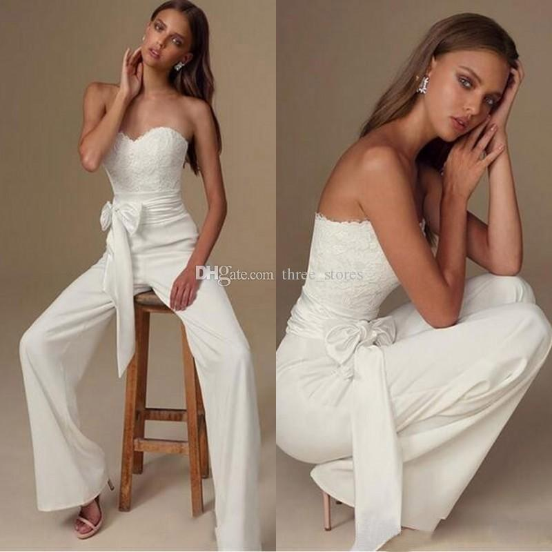 2020 комбинезонов Свадебные платья Sweetheart выполненное на заказ простой свадебные платья кружева арабский шифон Boho Люкс партии платья