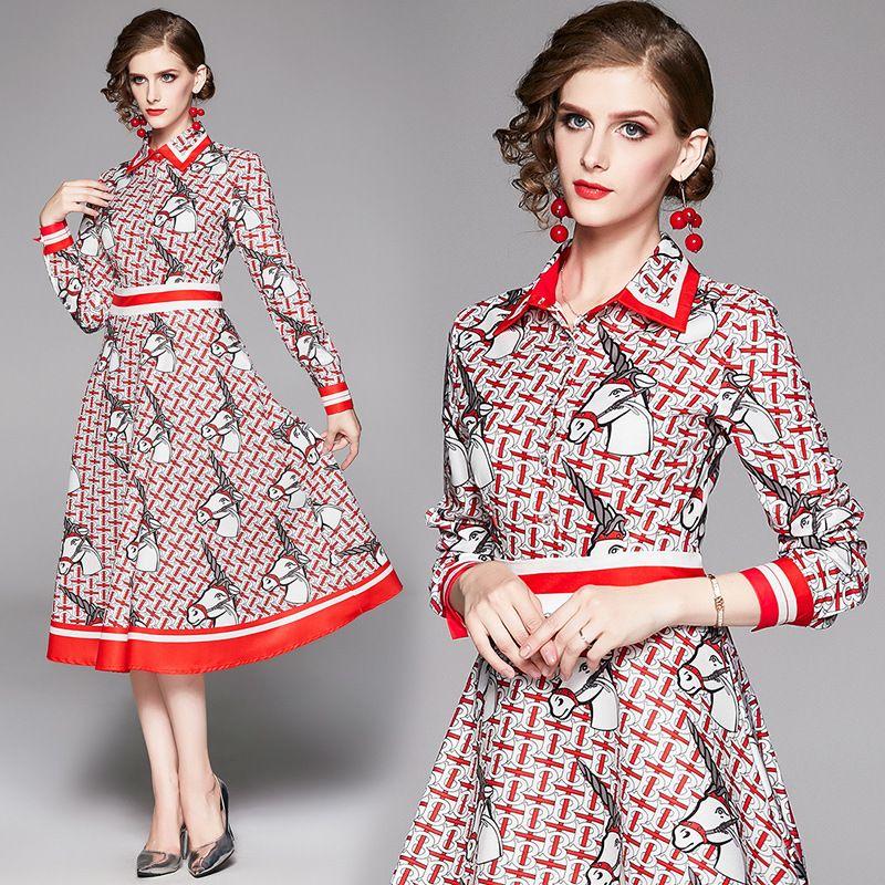 2020 Новое Элегантное Печатное Платье Плюс Размер Женская Мода С Длинным Рукавом Отворотом Шеи Дамы Взлетно Посадочной Полосы Платья Тонкий Повседневный Офис Кнопка Рубашки Платье
