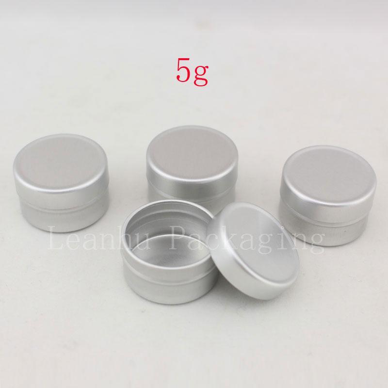 Contenitore cosmetico vuoto di alluminio 5g con i coperchi 5ml piccola bottiglia rotonda del campione del vaso di imballaggio cosmetico del profumo solido del balsamo del labbro rotondo