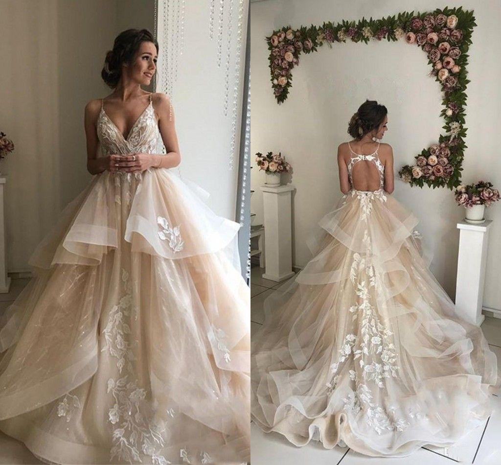 جميلة الشمبانيا الزهور الرباط فساتين الزفاف 2019 مثير عارية الذراعين الكشكشة منتفخ أثواب الزفاف شاطئ أثواب الزفاف vestido دي noiva
