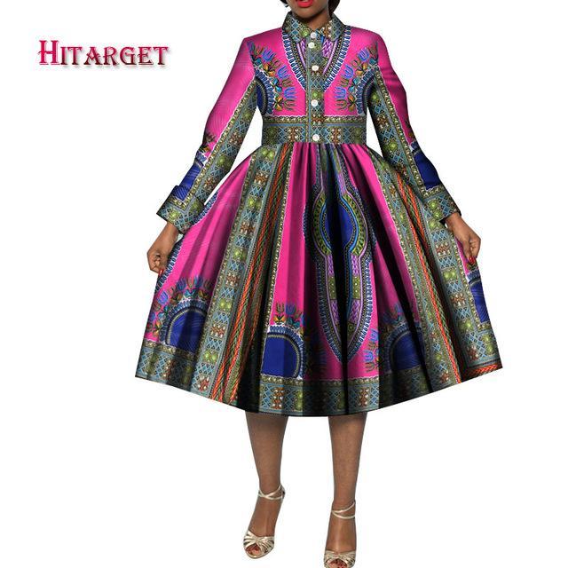 Moda Stil Kadınlar Için Afrika Baskı Elbiseler Bazin Riche Geleneksel Afrika Kadın Giyim Elegent Kadınlar Artı Boyutu Dresswy3952