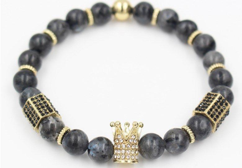 8 мм xfe53 золото серебро медь корона агат оникс микро проложить cz Циркон кубический цирконий браслет йога рейки чакра исцеление