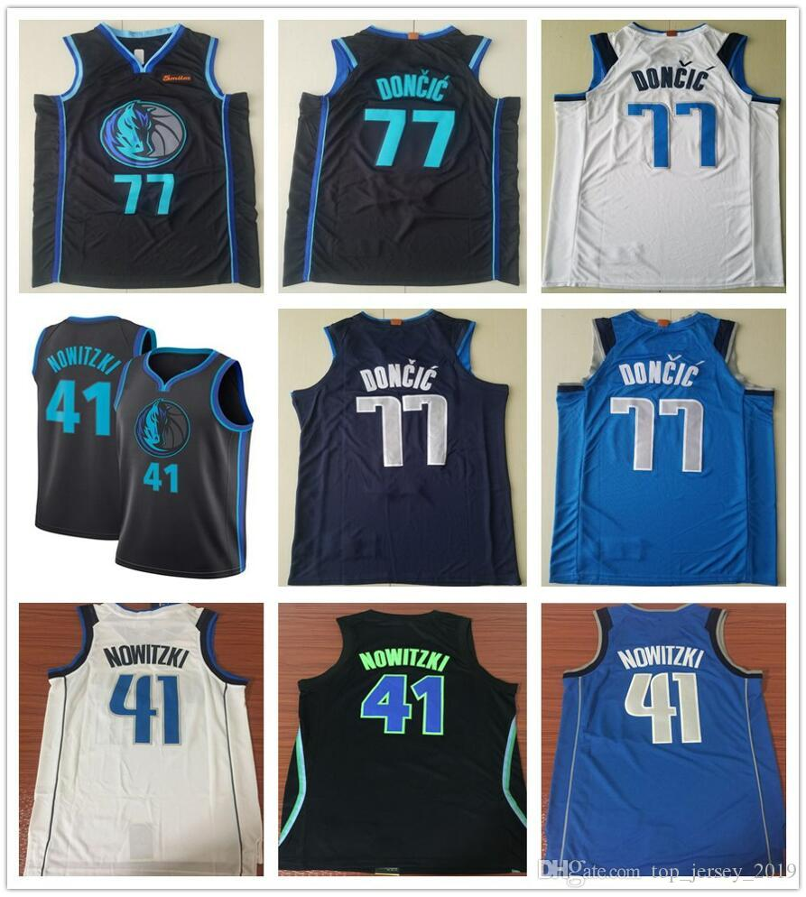 more photos dce92 248f8 2019 2019 New City Edition Navy Blue Luka Doncic Jersey White Black  Stitched Dirk Nowitzki Jerseys Basketball Shirt From Top_jersey_2019,  &Price; | ...