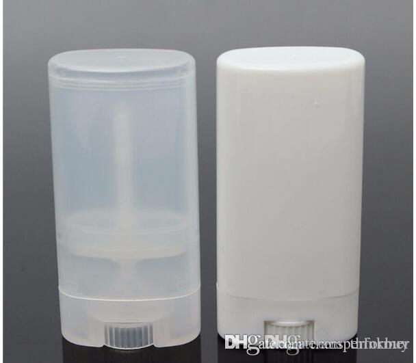 calientes del nuevo envío libre 1000 PC / 15ml de plástico vacía oval Bálsamo labial Tubos Desodorante recipientes transparentes Lápiz labial blanco fresco de la manera de labios Tubos