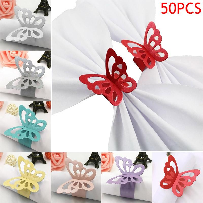 Pearlescent 50 Pcs/Set Lovely Butterfly Paper Napkin Rings Supplies For Wedding Party Decoration FPing