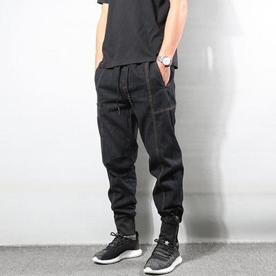 Großhandel Japanischer Stil Vintage Herren Jeans Gespleißt Designer Denim Cargo Pants Harem Jeans Herren Fashion Streetwear Hip Hop Jogger Von