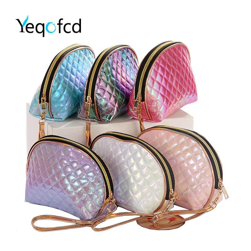 Yeqofcd Shell Şeklinde Yıkama Tuvalet Çanta Fermuar Taşınabilir Kozmetik Çanta Kadınlar Kılıfı PU Seyahat Organizatör Case Makyaj