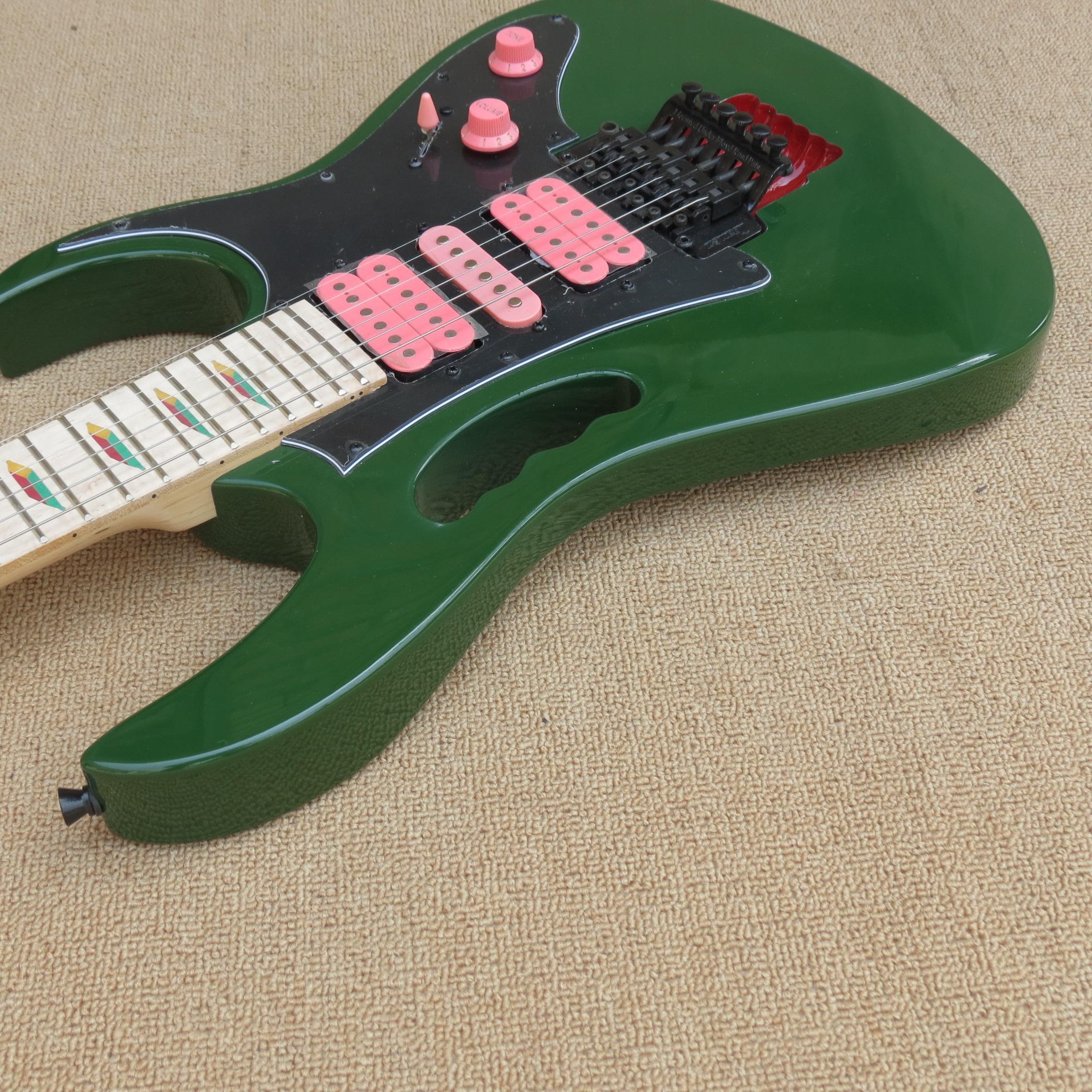 Özel JEMS Ordu yeşil gitar Maymun kavrama ve ücretsiz kargo nakliye Aslan Pençesi tremolo kavite Siyah donanım desteği damla