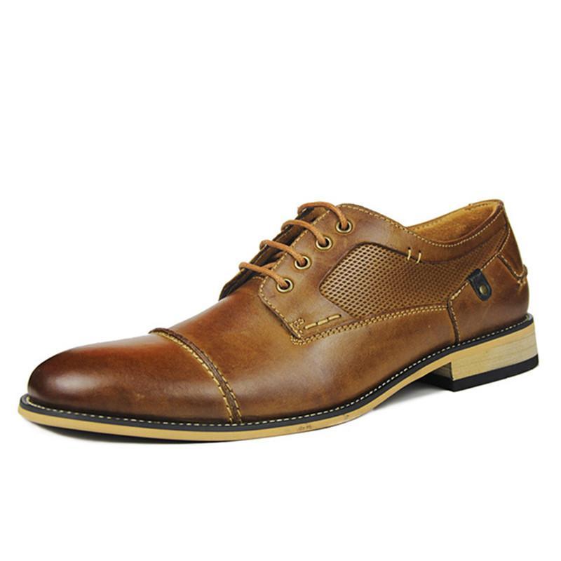 2019 El Yapımı Resmi Ayakkabı Erkekler Hakiki Deri Dantel-up İş Elbise Ayakkabı erkek Oxfords Flats Düğün zapatos de hombre